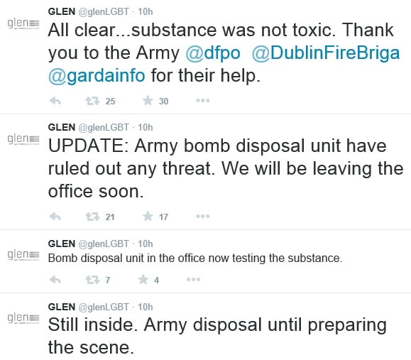 bombscare at gay lesbian equality network headquarters in Dublin